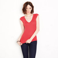 Sheer mini rib v-neck t-shirt