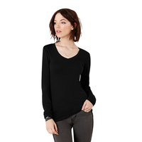 Sheer mini rib long sleeve v-neck t-shirt
